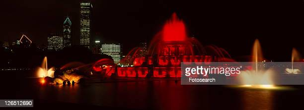 Panoramic view of Grant Park and Fountain at night