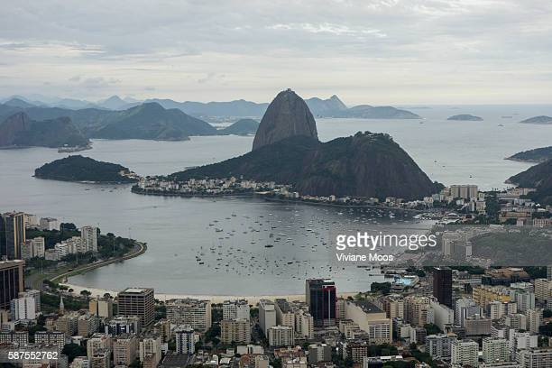 Panoramic view of Guanabara bay beach downtown Rio and Sugarloaf mountain