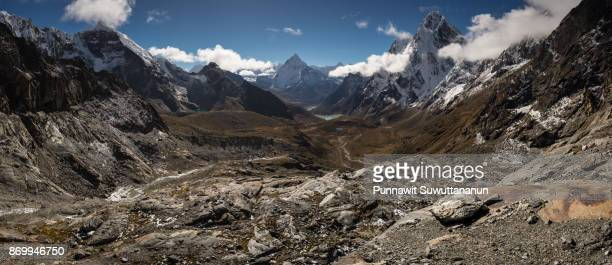 Panoramic view of Himalaya mountains from Chola pass, Everest region, Nepal