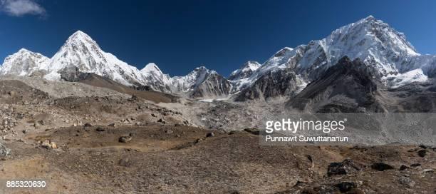 Panoramic view of Himalaya mountains range from Everest region, Nepal