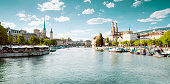 Panoramic view of historic Zurich city center with famous Fraumunster and Grossmunster Churches and river Limmat, Switzerland