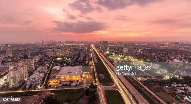 Panoramic view of Ho Chi Minh city, Vietnam in sunset