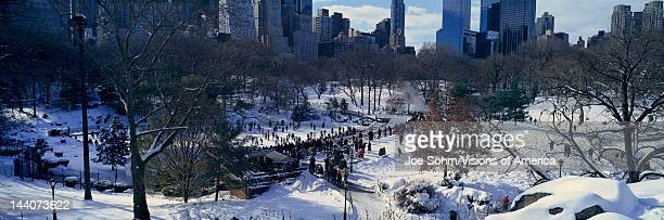Panoramic view of ice skating Wollman Rink in Central Park Manhattan New York City NY after winter snowstorm