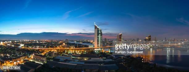 Panoramic view of king rama 9 bride in twilight period the dream destination landmark in Bangkok,Thailand