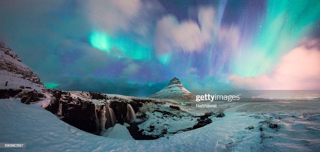 Panoramic View of Kirkjufell Mountain with Aurora : Stock Photo