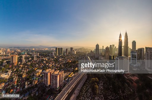 Panoramic view of Kuala Lumpur at sunrise
