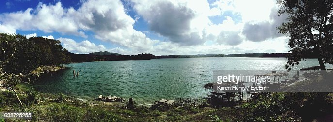 Panoramic View Of Lake Against Cloudy Sky : Stock Photo