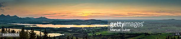 Panoramic view of lake Forggensee, Buchenbeg, Bavaria, Germany