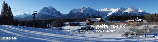 A panoramic view of Lake Louise ski resort with the Canadian Rockies in the background is seen as the resort hosts the FIS Ski World Cup Women's...