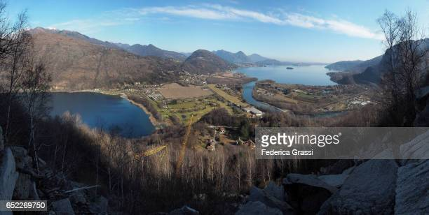 Panoramic View Of Lake Mergozzo And Lake Maggiore With The Borromean Gulf In Northern Italy