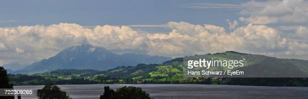 Panoramic View Of Lake Zug And Mountains Against Sky