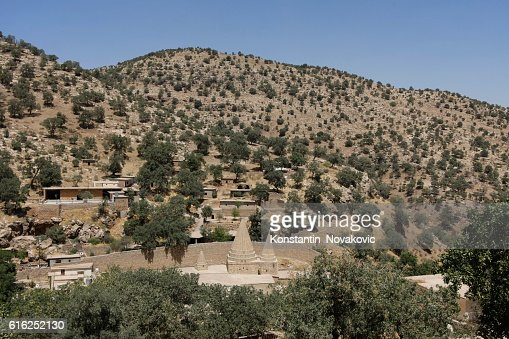 Panoramic view of Lalish, sacred Yazidi village : Stock Photo