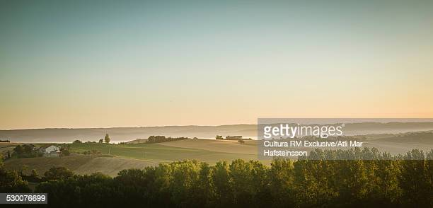 Panoramic view of landscape at sunrise, Prades, Midi Pyrenees, France