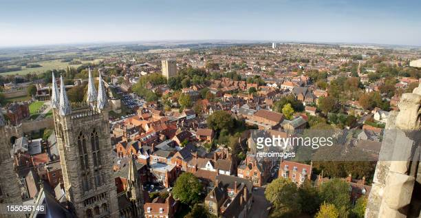 Panoramic view of Lincoln, England from Cathedral bell tower