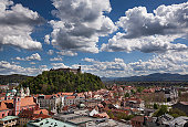 View of Ljubljana Castle and the old part of town.