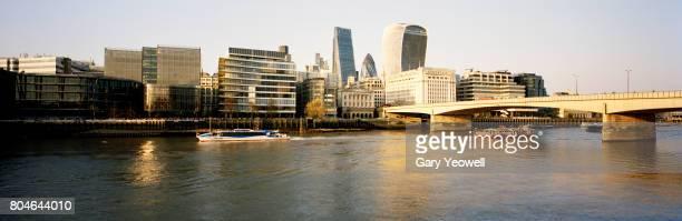 Panoramic view of London city skyline and London Bridge