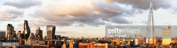 Panoramic view of London city skyline and Shard
