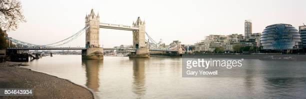 Panoramic view of London city skyline and Tower Bridge