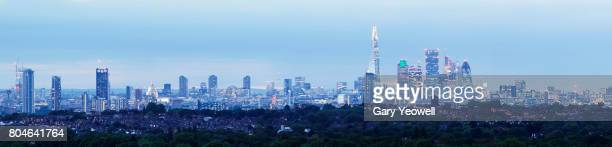 Panoramic view of London city skyline at dusk