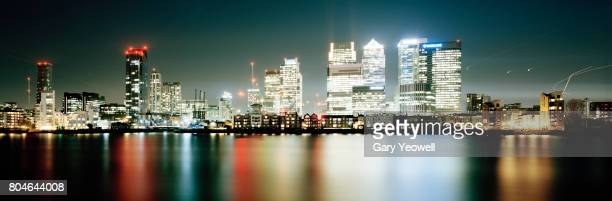 Panoramic view of London city skyline of Canary Wharf