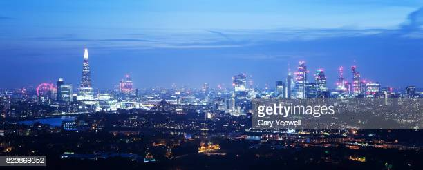 Panoramic view of London skyline at dusk