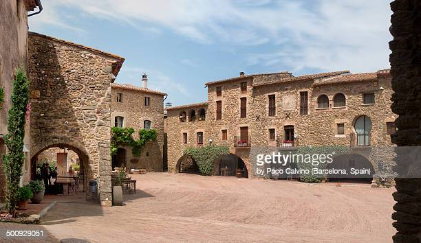 Panoramic view of main square of Monells, Spain