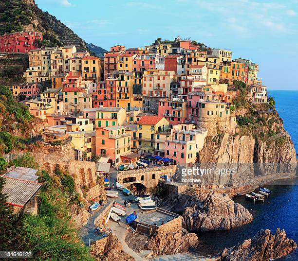 Panoramic view of Manarola in Cinque Terre, Italy