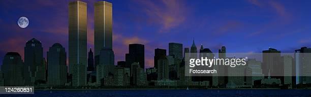 Panoramic view of Manhattan skyline at night