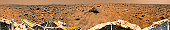 November 4, 1997 - improved, color enhanced version of the 360-degree panorama Gallery Pan, the first contiguous, uniform panorama taken by Mars Pathfinder (IMP) over the course of Sols 8, 9, and 10.