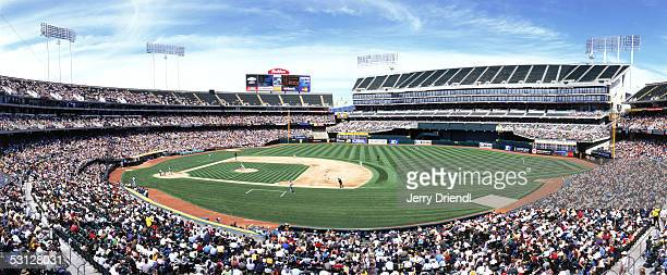 Panoramic view of McAfee Coliseum from the upper level first base side during a game between the Seattle Marines and the Oakland Athletics on May 1...