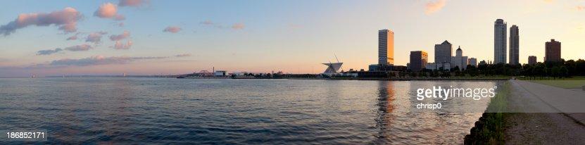 Panoramic View of Milwaukee at Sunset