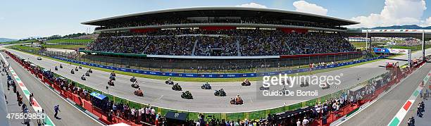 A panoramic view of MotoGP riders on the grid ahead of the start of MotoGp of Italy at Mugello Circuit on May 31 2015 in Scarperia Italy