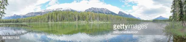Panoramic view of mountain lake landscape in Canada
