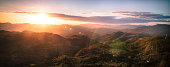 Panoramic view of mountains at sunset