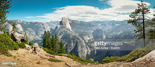 Panoramic View Of Mountains In Yosemite National Park Against Cloudy Sky
