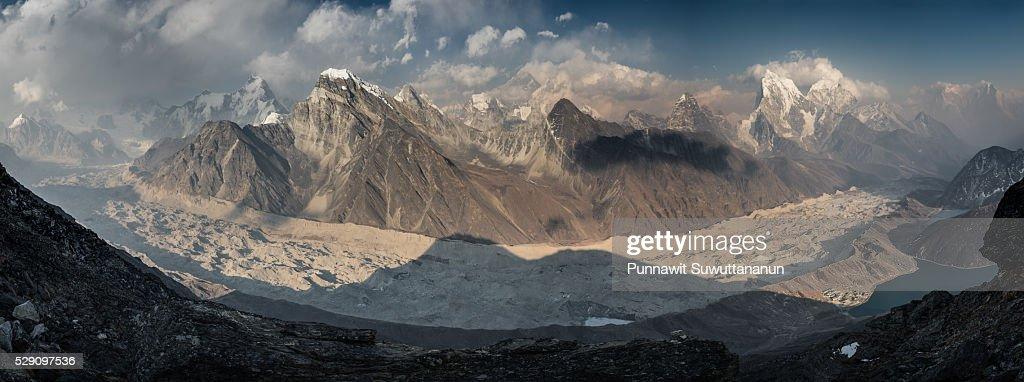 Panoramic view of Ngozumpa glacier from Gokyo Ri, Everest region