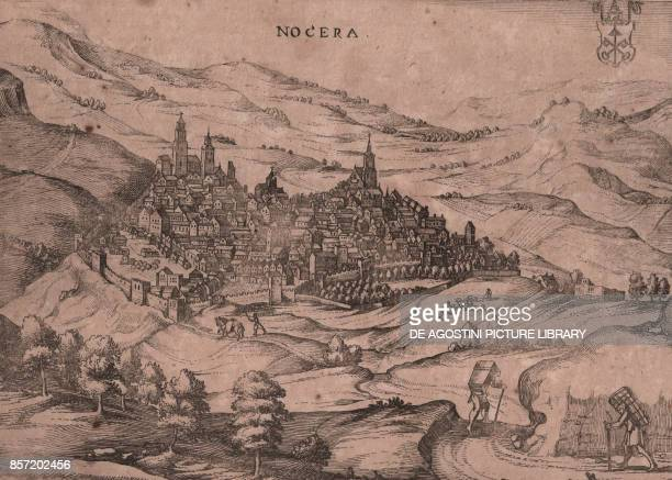 Panoramic view of Nocera Umbra and its surroundings with the coat of arms of the Papal States Umbria Italy copper engraving 247x185 cm from Nova et...