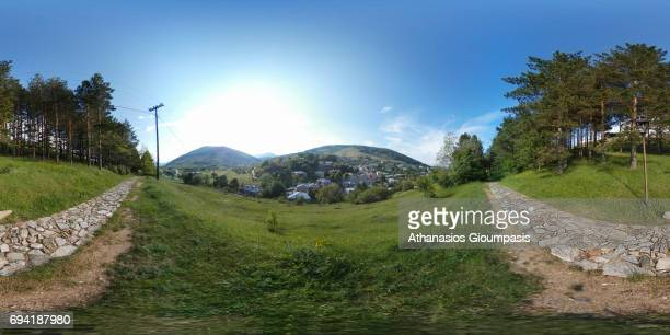Panoramic view of Nymfaio village on June 04 2017 in Nymfaio GreeceNymfaio is a traditional settlement of Mount Vernon at an altitude of 1350 m in a...