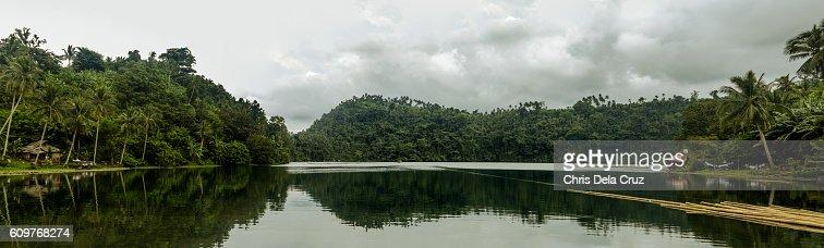 Panoramic view of Pandin lake : Stock Photo