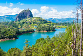 panoramic view of Penol lake and the famous homonym stone Guatape Colombia
