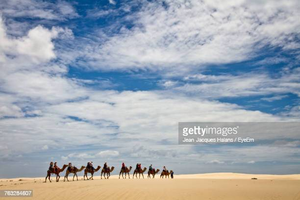 Panoramic View Of People Riding Camels