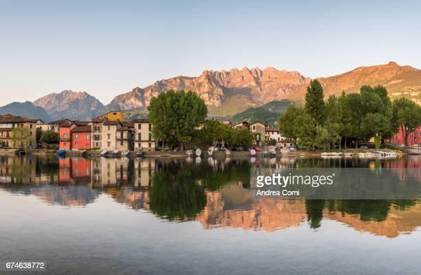 Panoramic view of Pescarenico, Lecco, lake Como, Lombardy.