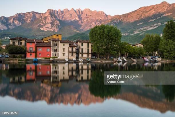 Panoramic view of Pescarenico. Lecco, Lake Como, Lombardy