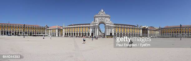 Panoramic View Of Praca Do Comercio Against Clear Blue Sky