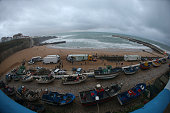 Panoramic view of Praia dos Pescadores at the end of day 4 of competition of the Ericeira World Junior Championships 2016 of Surfing at Praia dos...