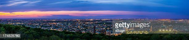 Panoramic view of Quebec city skyline at dusk