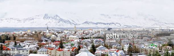 Panoramic View Of Reykjavik Downtown With Snowcapped Mountains, Iceland