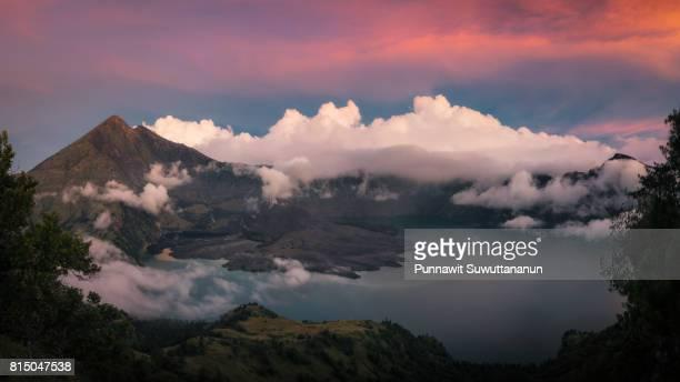 Panoramic view of Rinjani volcano mountain at sunset, Lombok island, Indonesia
