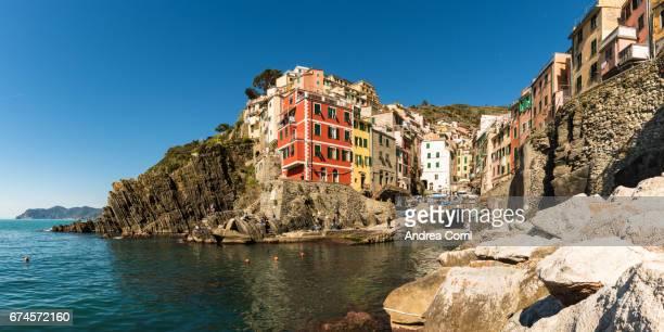 Panoramic view of Riomaggiore townscape. Cinque Terre, La Spezia, Liguria