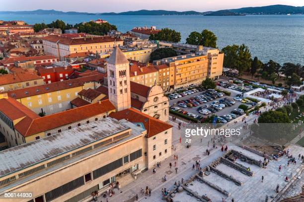 Panoramic view of Roman Forum from the Bell Tower of St. Anastasia's Cathedral in Zadar, Croatia
